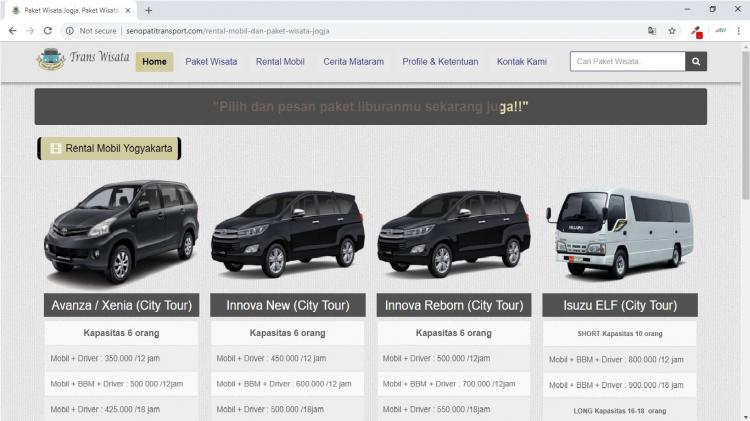 Senopati Transport, Website Paket Tour & Sewa Mobil Yogyakarta