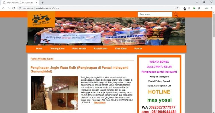 Wisata Bonex, Website Tour Travel & Penginapan Indrayanti Gunungkidul