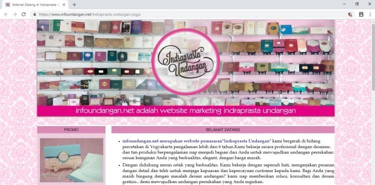 Indraprasta Undangan, Website Percetakan Undangan Perkawinan