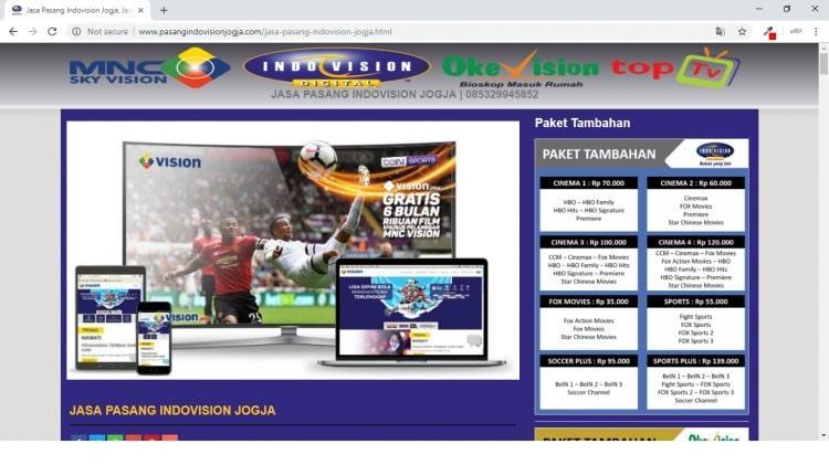 Jasa Pasang Indovision Jogja, Website Promosi Murah Mulai 500 ribu