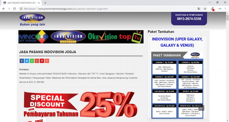 Jasa Pasang Indovision Jogja, Website Promosi Indovision 500rb + FREE SEO