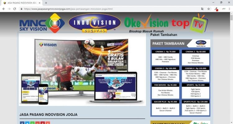 Jasa Pasang MNC Vision, Paket Web Minisite 500rb