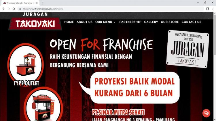 Franchise Juragan Takoyaki, Website Usaha Franchise / Waralaba